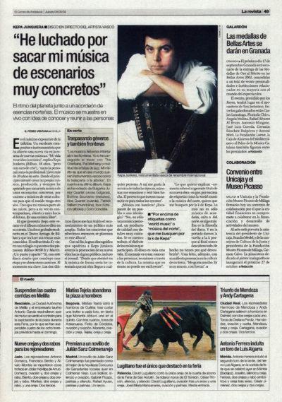 Kepa Junquera: «He luchado por sacar mi música de escenarios muy concretos» – K | El Correo de Andalucía | 4 sep 2003