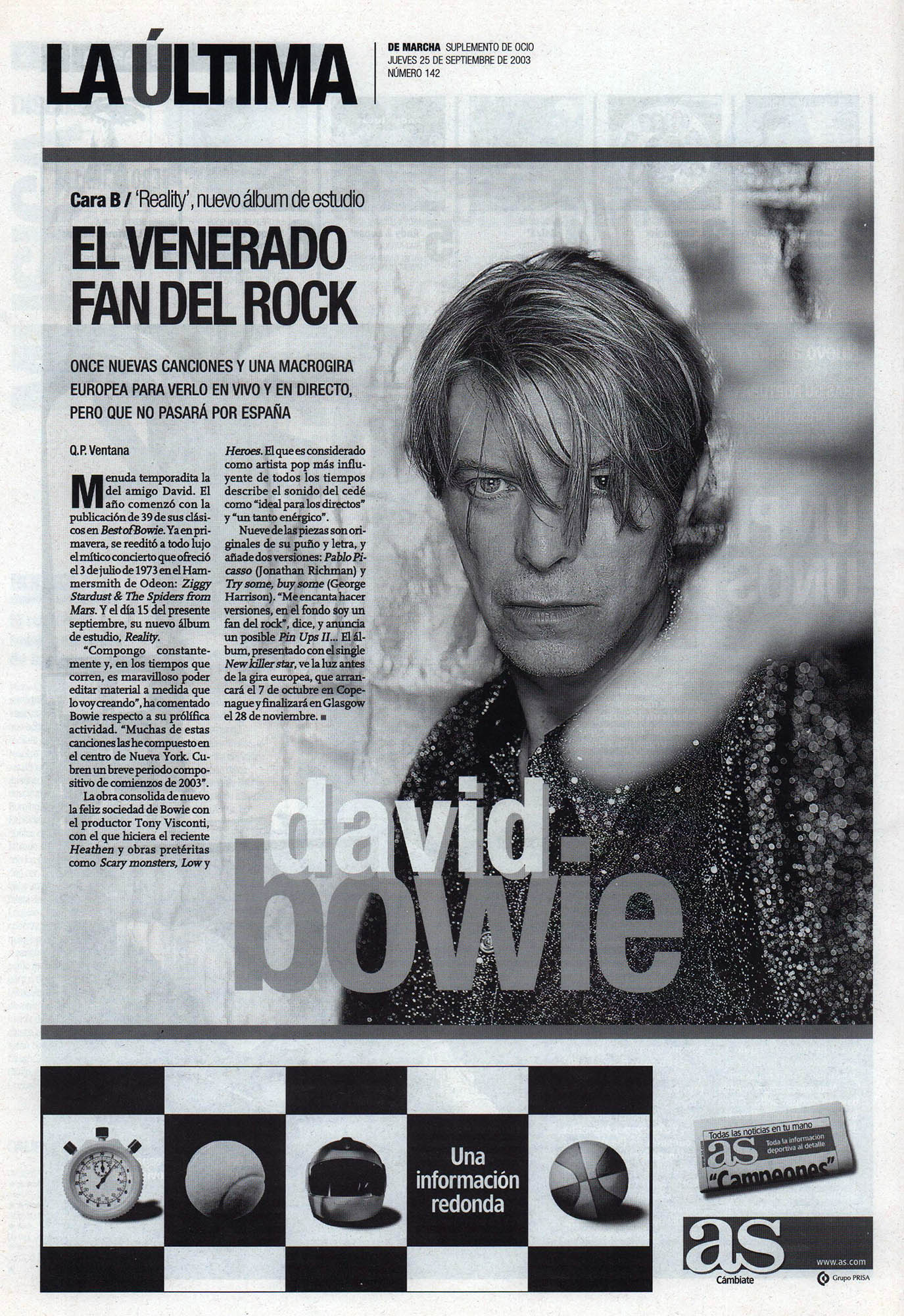 David Bowie: el venerado fan del rock | De Marcha - El Correo | 25 sep 2003