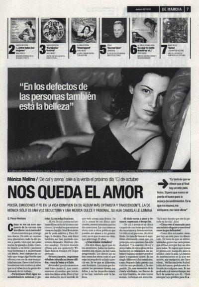 Mónica Molina: nos queda el amor – De cal y arena | De Marcha – El Correo | 2 oct 2003