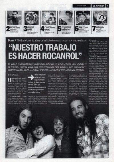 Dover: «Nuestro trabajo es hacer rocanrol» – The flame | De Marcha – El Correo | 16 oct 2003