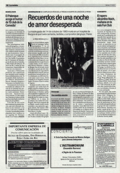 Triana: recuerdos de una noche de amor desesperada – XX aniversario muerte Jesús de la Rosa | El Correo de Andalucía | 17 oct 2003