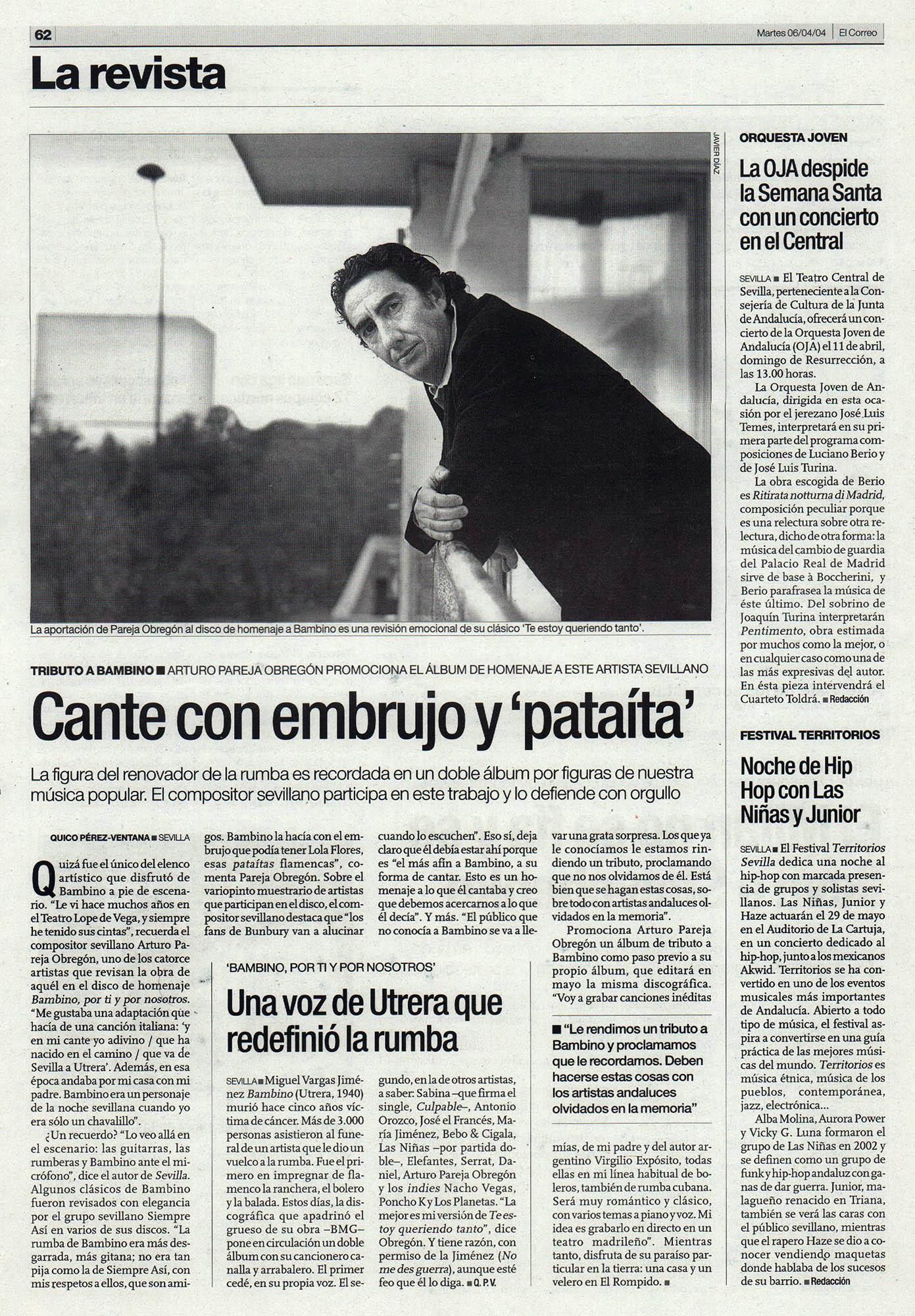Arturo Pareja Obregón - Tributo a Bambino   El Correo de Andalucía   6 abr 2004
