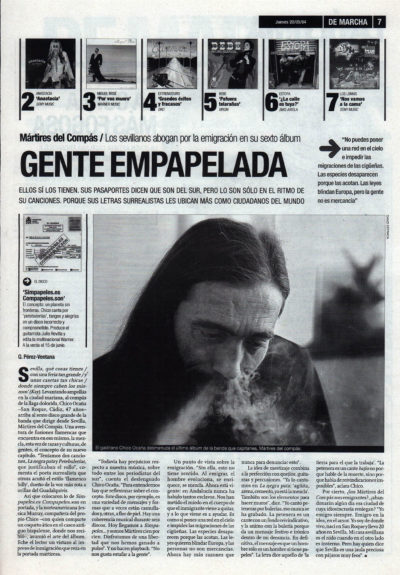 Mártires del Compás: gente empapelada – Simpapeles | De Marcha – El Correo | 20 may 2004