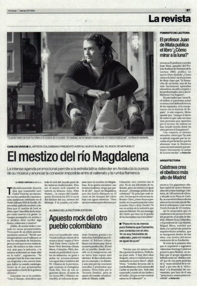 Carlos Vives: el mestizo del río Magdalena – El rock de mi pueblo | El Correo de Andalucía | 22 oct 2004