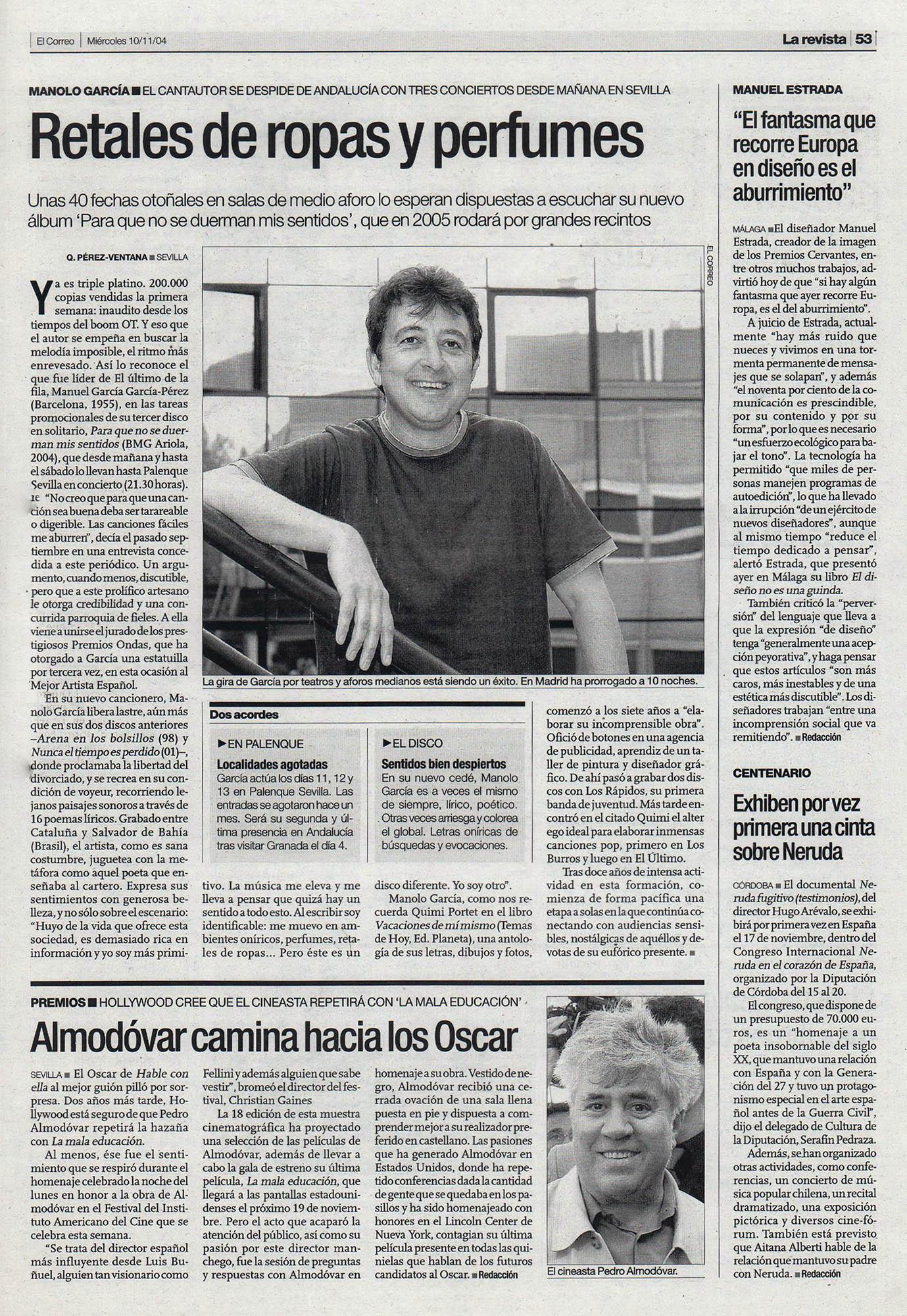 Manolo García: retales de ropas y perfumes – Para que no se duerman mis sentidos | El Correo de Andalucía | 10 nov 2004