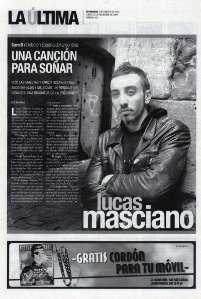 Lucas Masciano, una canción para soñar – Al diablo con todo | De Marcha – El Correo | 25 nov 2004