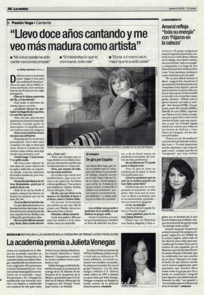 Pasión Vega: «Llevo doce años cantando y me veo más madura como artista» – Flaca de amor | El Correo de Andalucía | 31 mar 2005