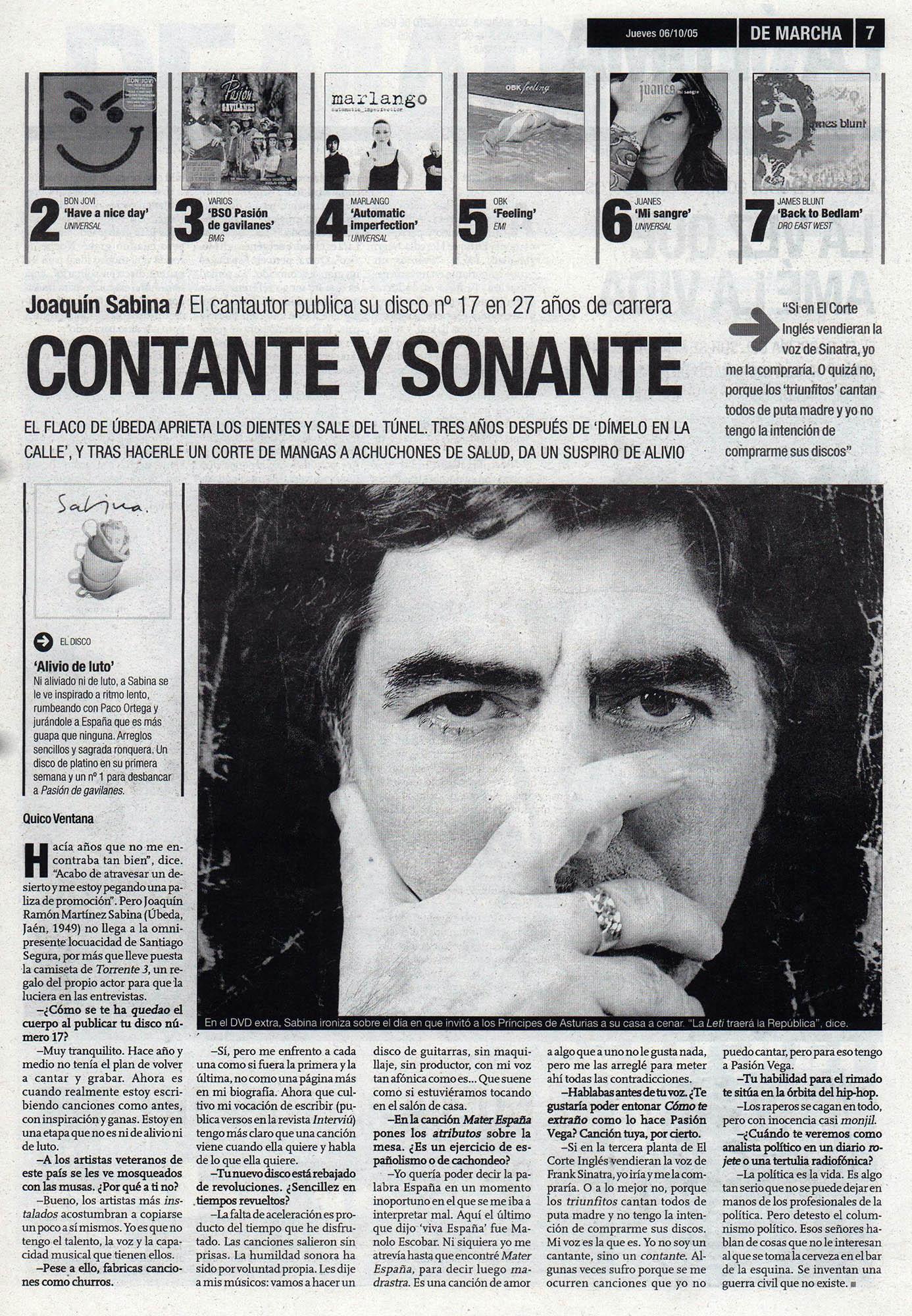 Joaquín Sabina: contante y sonante - Alivio de luto | De Marcha - El Correo | 6 oct 2005