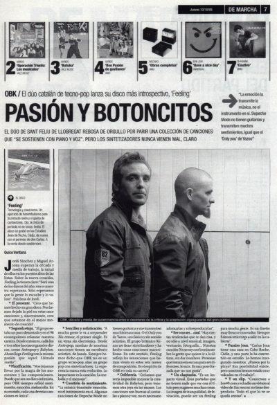 OBK: pasión y botoncitos – Feeling | De Marcha – El Correo | 13 oct 2005