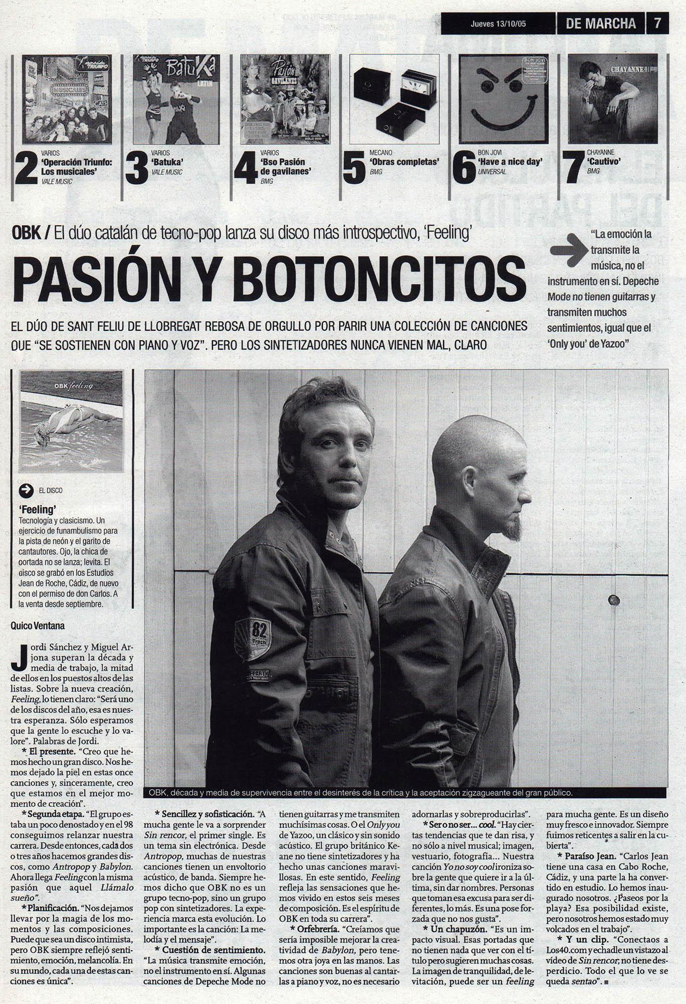 OBK: pasión y botoncitos - Feeling | De Marcha - El Correo | 13 oct 2005