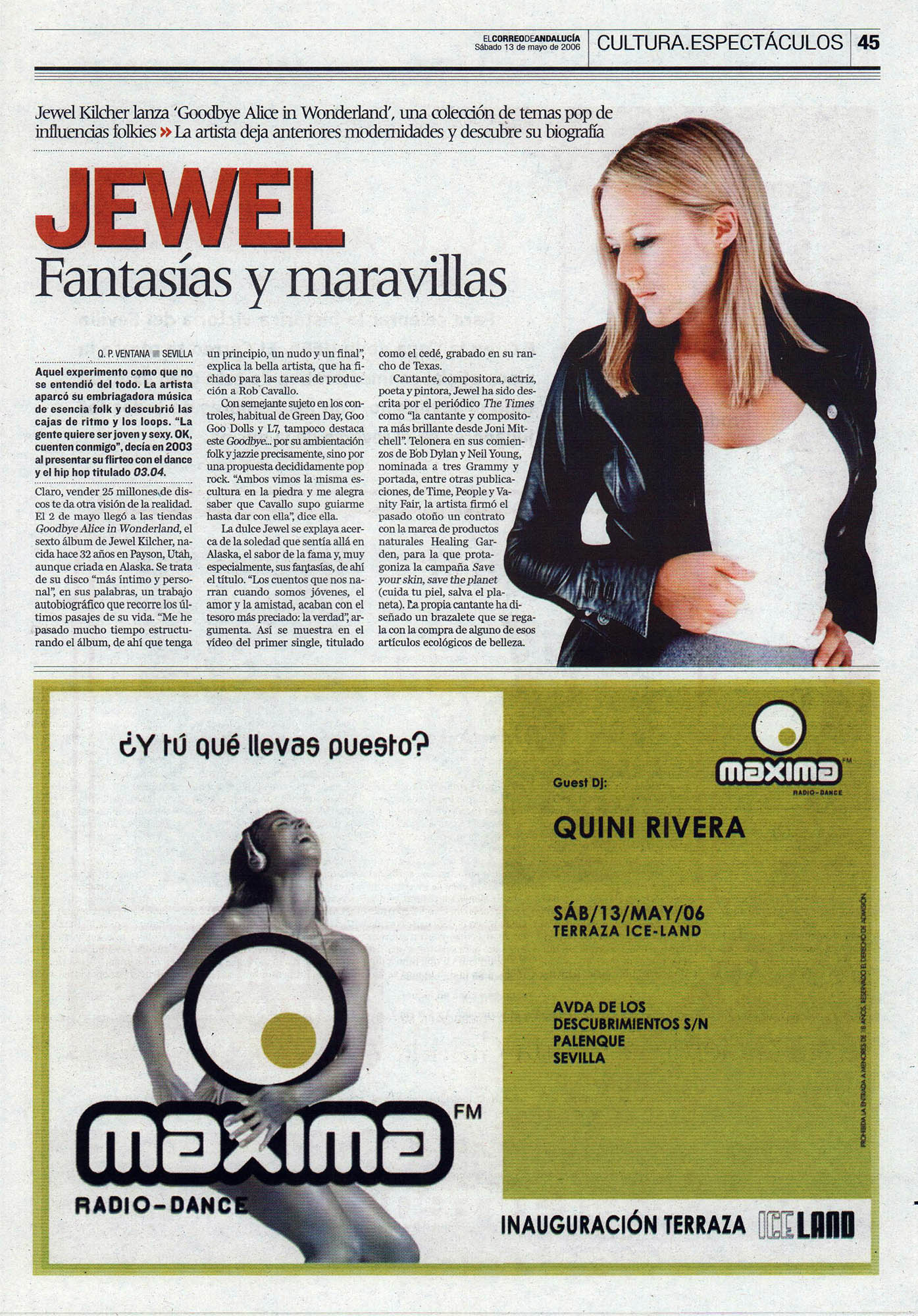 Jewel, fantasías y maravillas – Goodbye Alice in Wonderland | El Correo de Andalucía | 13 may 2006