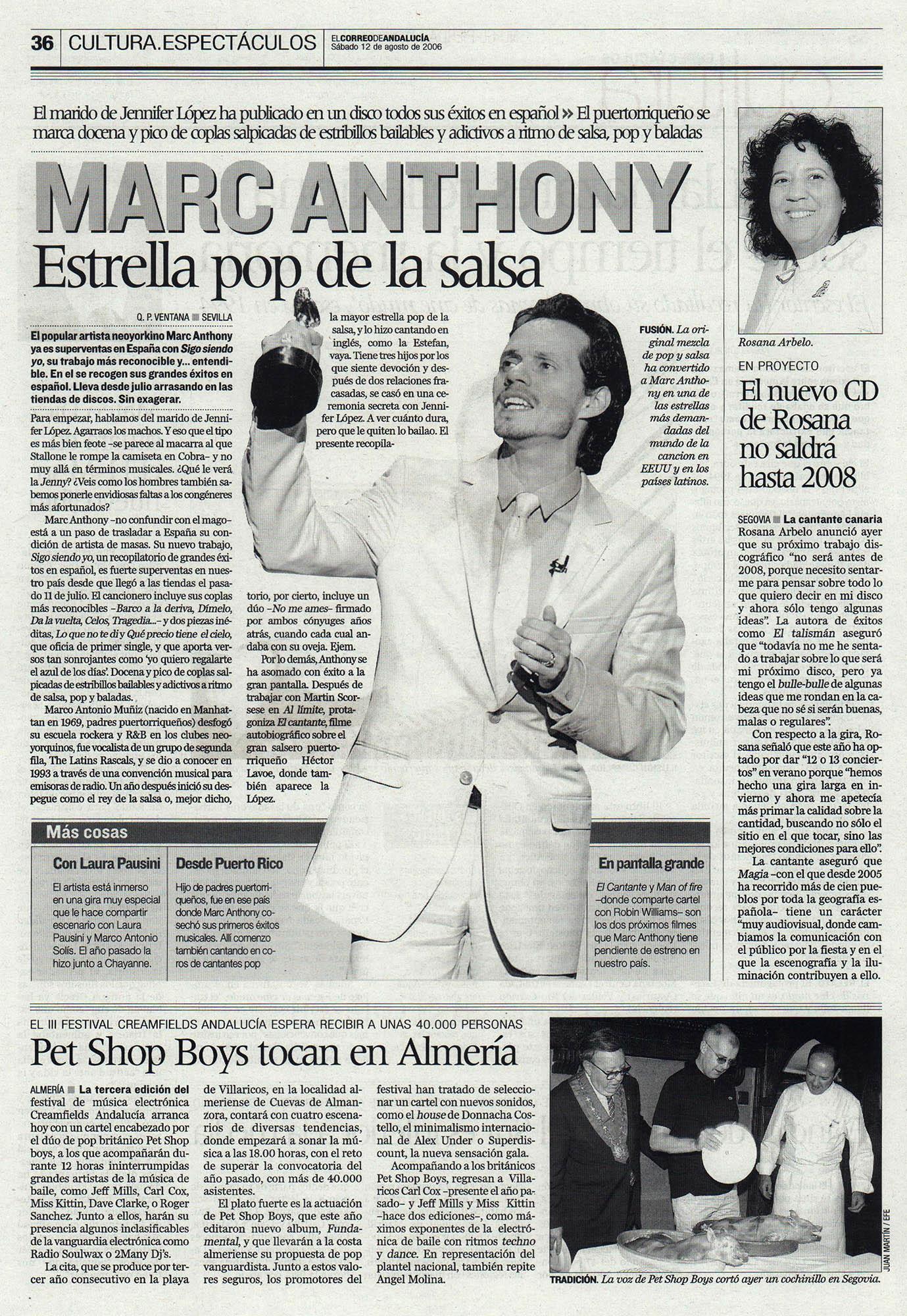 Marc Anthony, estrella pop de la salsa | El Correo de Andalucía | 12 ago 2006
