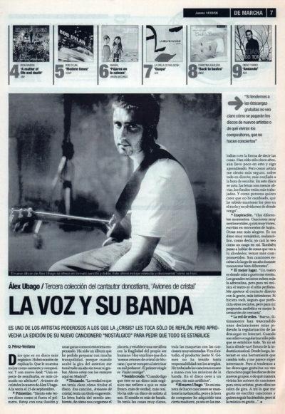 Álex Ubago, la voz y su banda | De Marcha – El Correo | 14 sep 2006