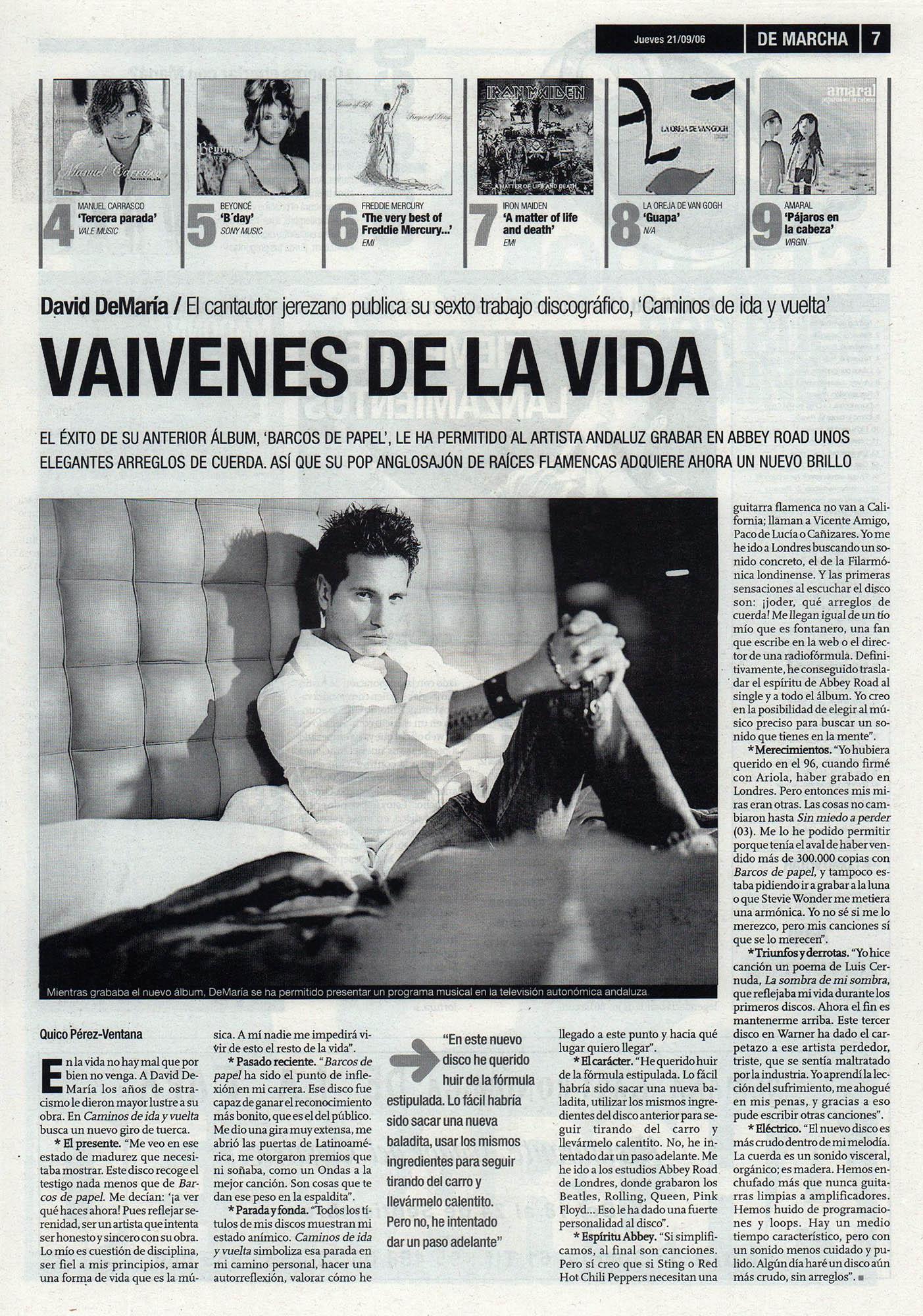 David deMaría, vaivenes de la vida | De Marcha - El Correo | 21 sep 2006