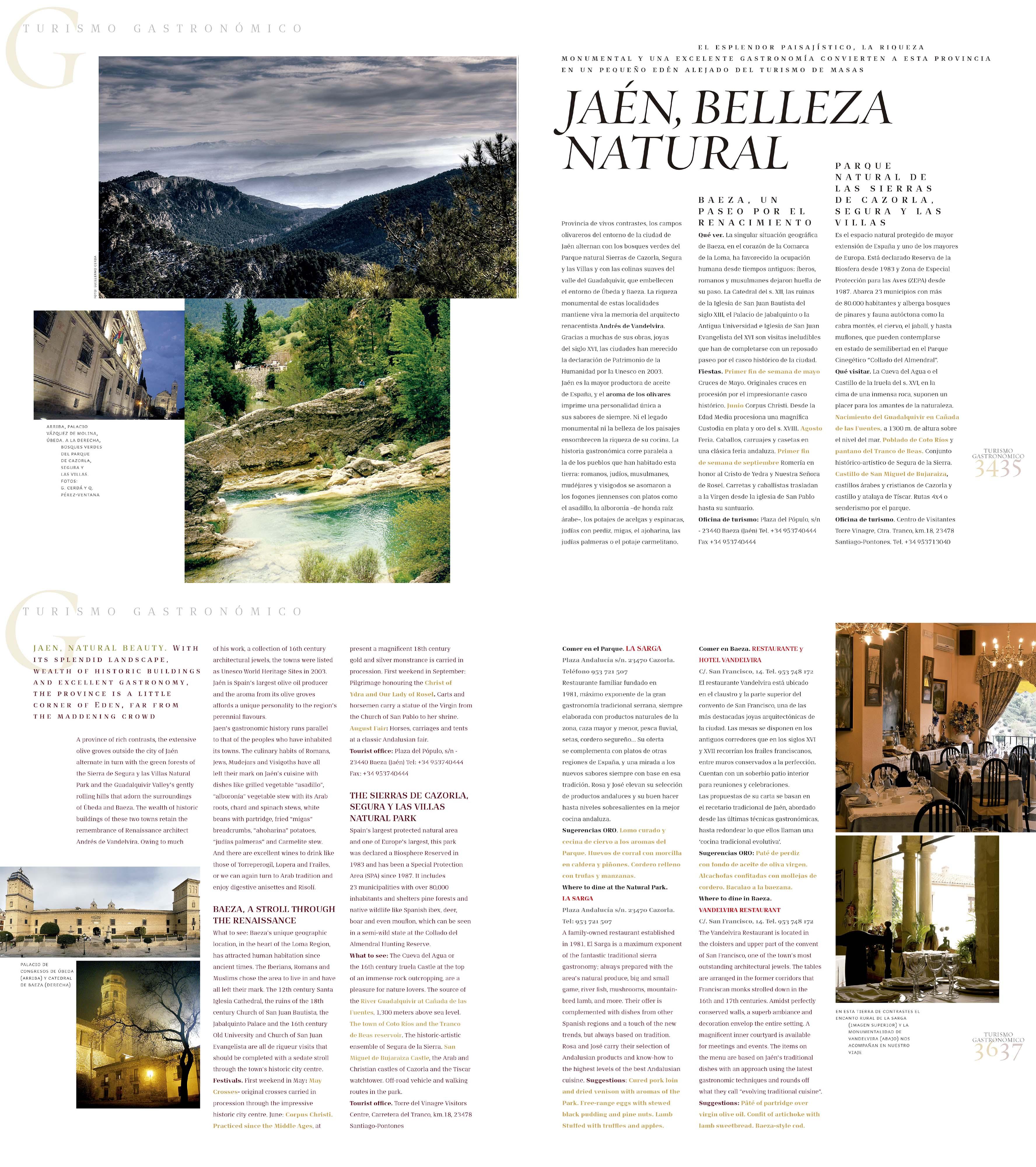 Turismo gastronómico - Jaén, belleza natural - La Sarga, Vandelvira | Revista ORO | oct 2008