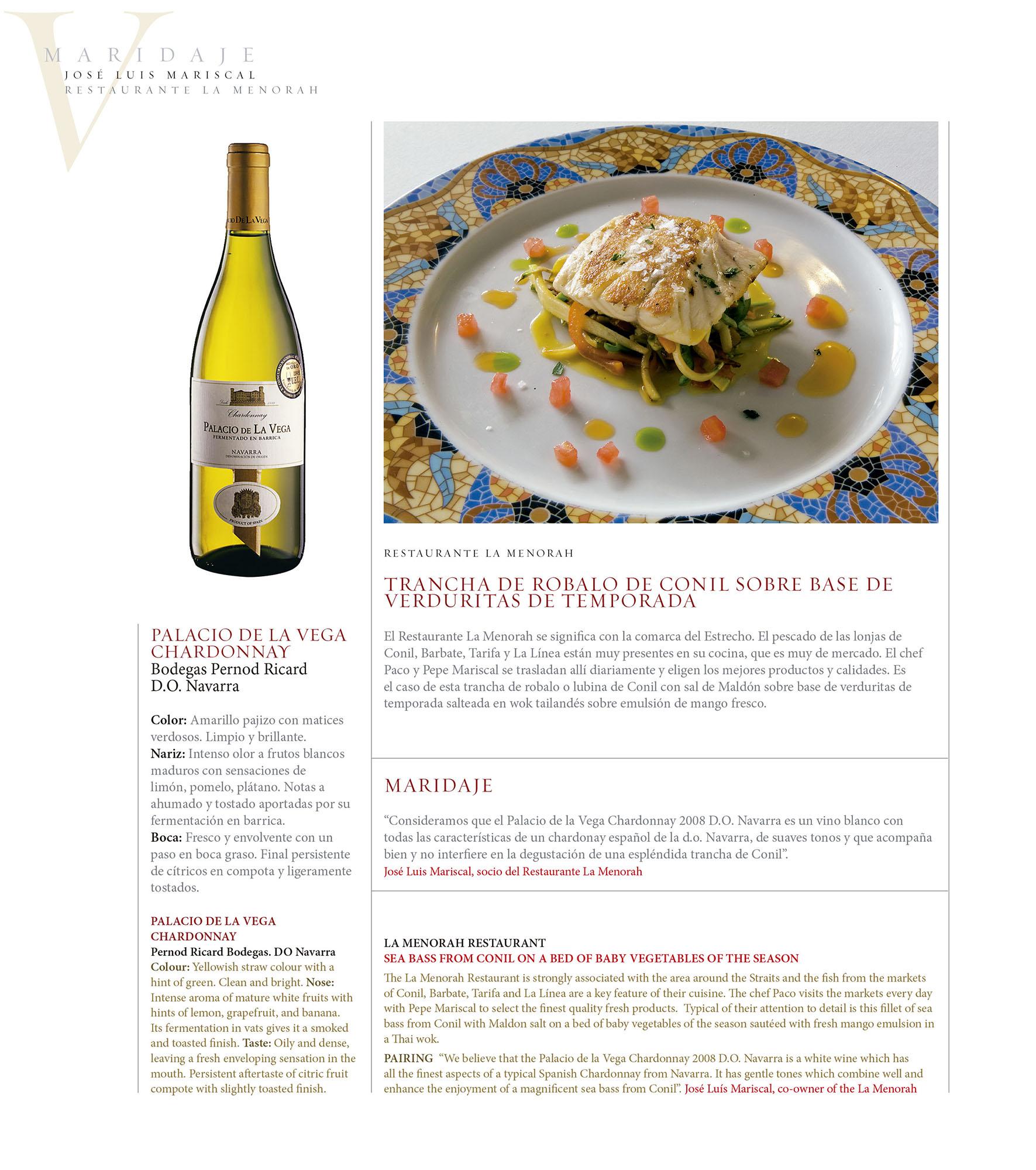 Maridaje – Restaurante La Menorah | Revista ORO | dic 2009