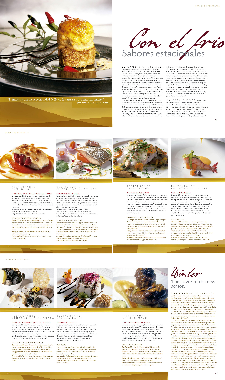 Cocina de temporada – Restaurantes Almudaina, El Faro del Puerto, Casa Rufino, La Ruta del Veleta, Ventorrillo El Chato, Sevilla Bahía, Manolo Mayo | Revista ORO | dic 2010