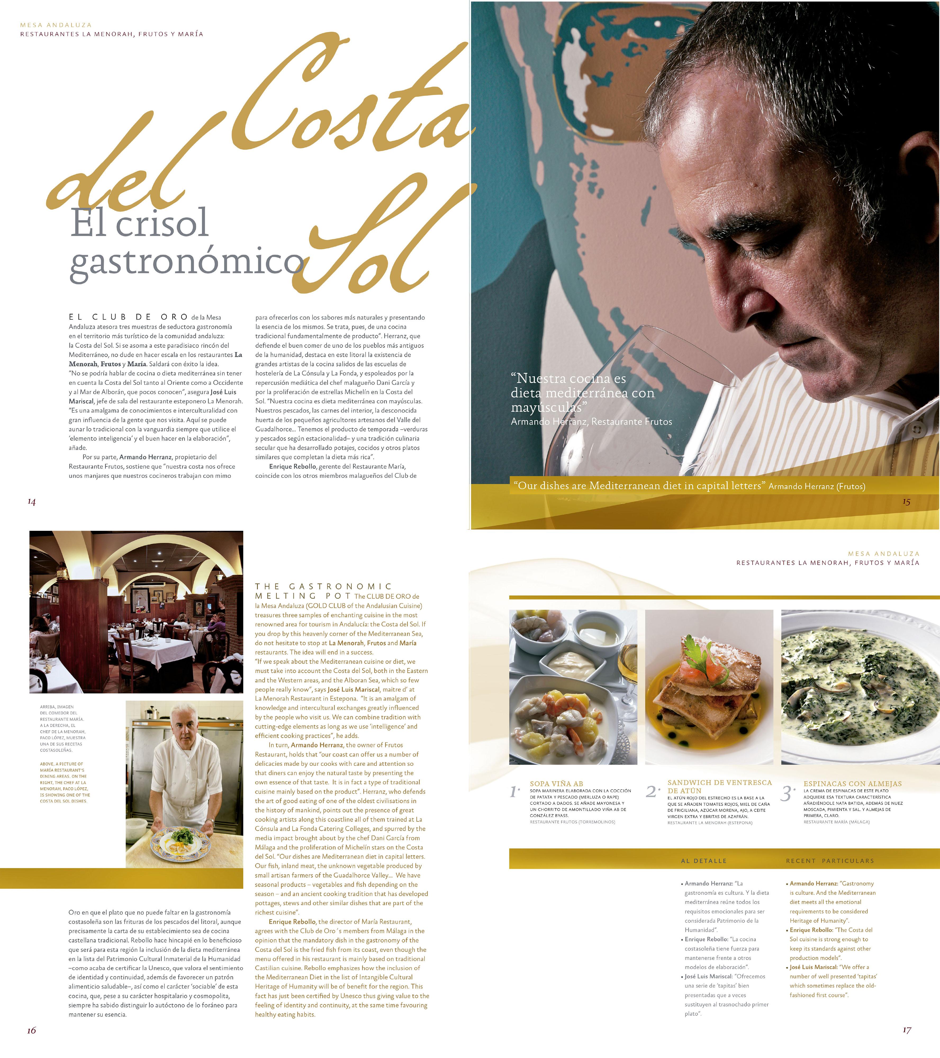 Costa del Sol: el crisol gastronómico - Restaurantes Frutos, María | Revista ORO | dic 2010