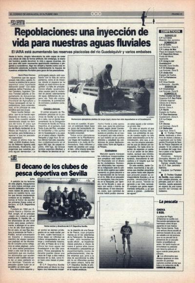 Pesca deportiva / Repoblaciones, una inyección de vida en nuestras aguas fluviales   Club Deportiva Sevilla, el decano   El Correo de Andalucía   22 oct 1993