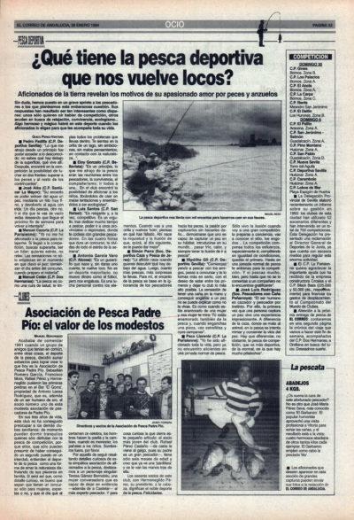 Pesca deportiva / ¿Qué tiene la pesca deportiva que nos vuelve locos?   Asociación de Pesca Padre Pío   El Correo de Andalucía   28 ene 1994