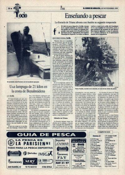 Pesca deportiva / Enseñando a pescar – Escuela de Triana | Lampuga de 21 kg en Benalmádena | El Correo de Andalucía | 10 nov 1995