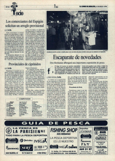 Pesca deportiva / Escaparate de novedades | Los comerciantes del espigón de Huelva solicitan un arreglo provisional | El Correo de Andalucía | 8 mar 1996