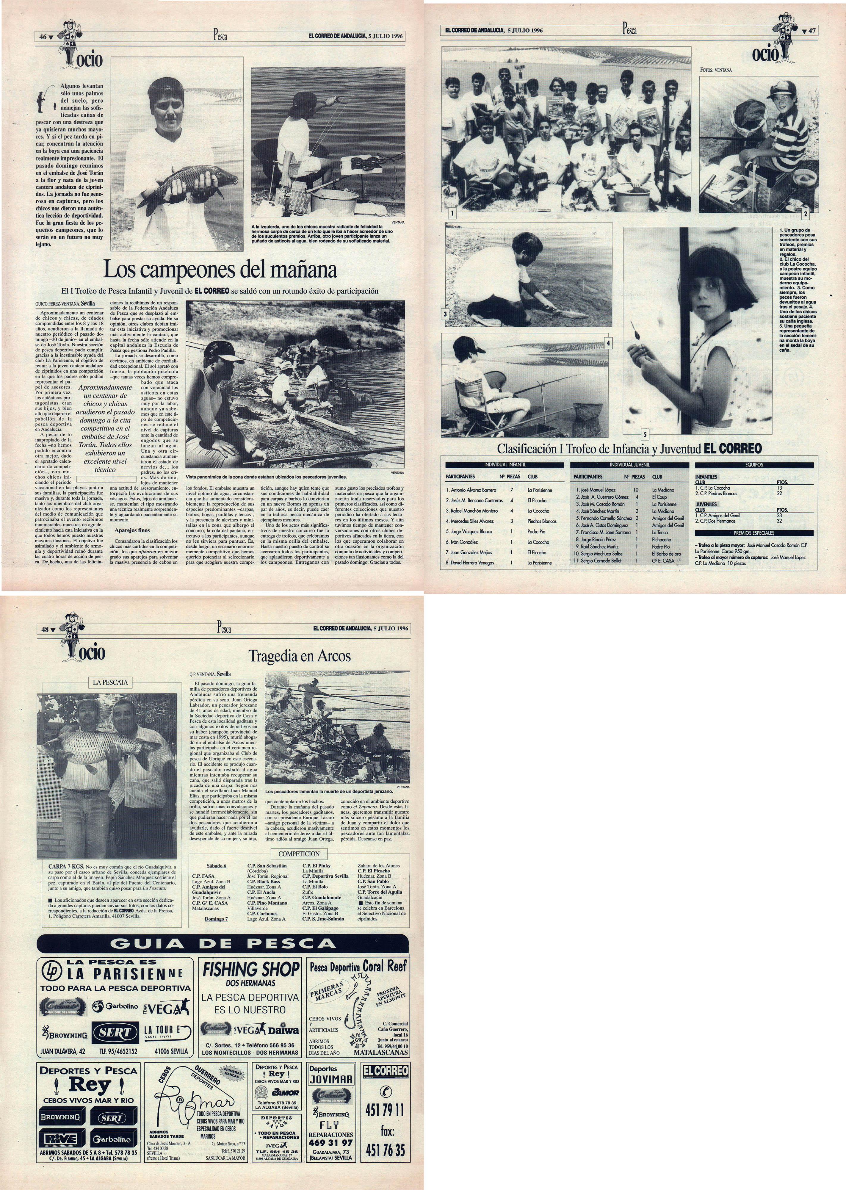 Pesca deportiva / Los campeones del mañana – I Trofeo Infantil y Juvenil El Correo | Tragedia en Arcos – Muerte de Juan Ortega Labrador | El Correo de Andalucía | 5 jul 1996
