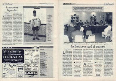 Pesca deportiva / La Barqueta pasó el examen: la Federacion Internacional confirma el mundial de Agua Dulce de Sevilla | La paz sea con los pescadores | El Correo de Andalucía | 24 ene 1997