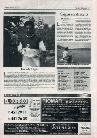 Pesca deportiva / Carpas en Aracena – Dorada 2 kg   El Correo de Andalucía   27 mar 1998