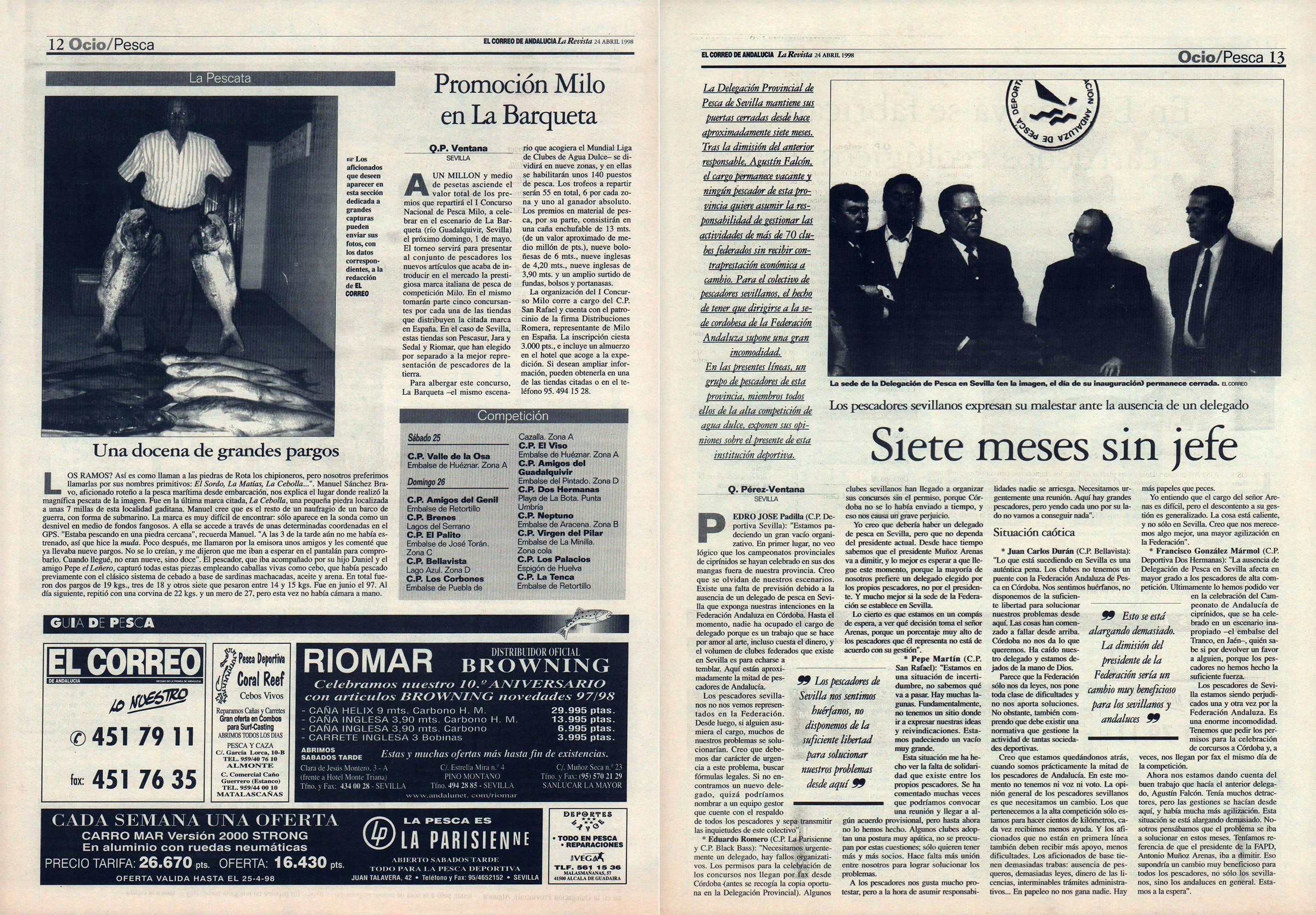 Pesca deportiva / Siete meses sin jefe - Promoción Milo en La Barqueta - Una docena de grandes pargos | El Correo de Andalucía | 24 abr 1998