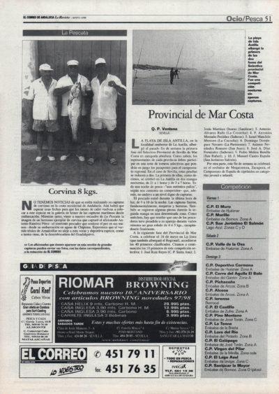Pesca deportiva / Provincial Mar Costa – Corvina 8 kg   El Correo de Andalucía   1 may 1998