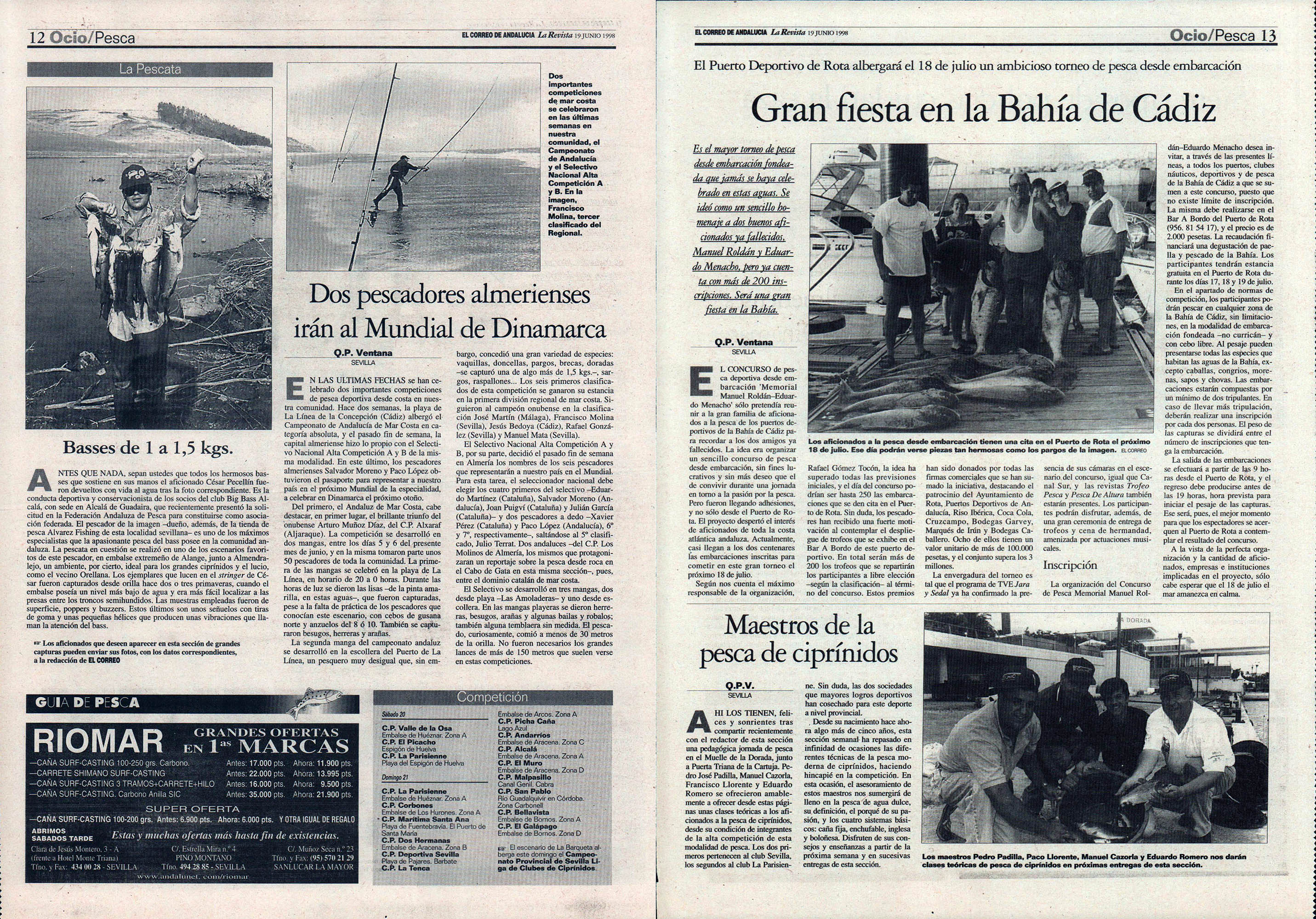 Pesca deportiva / Gran fiesta en la bahía de Cádiz - Torneo de Rota | Maestros de la pesca de ciprínidos | Dos pescadores almerienses irán al Mundial de Dinamarca | El Correo de Andalucía | 19 jun 1998