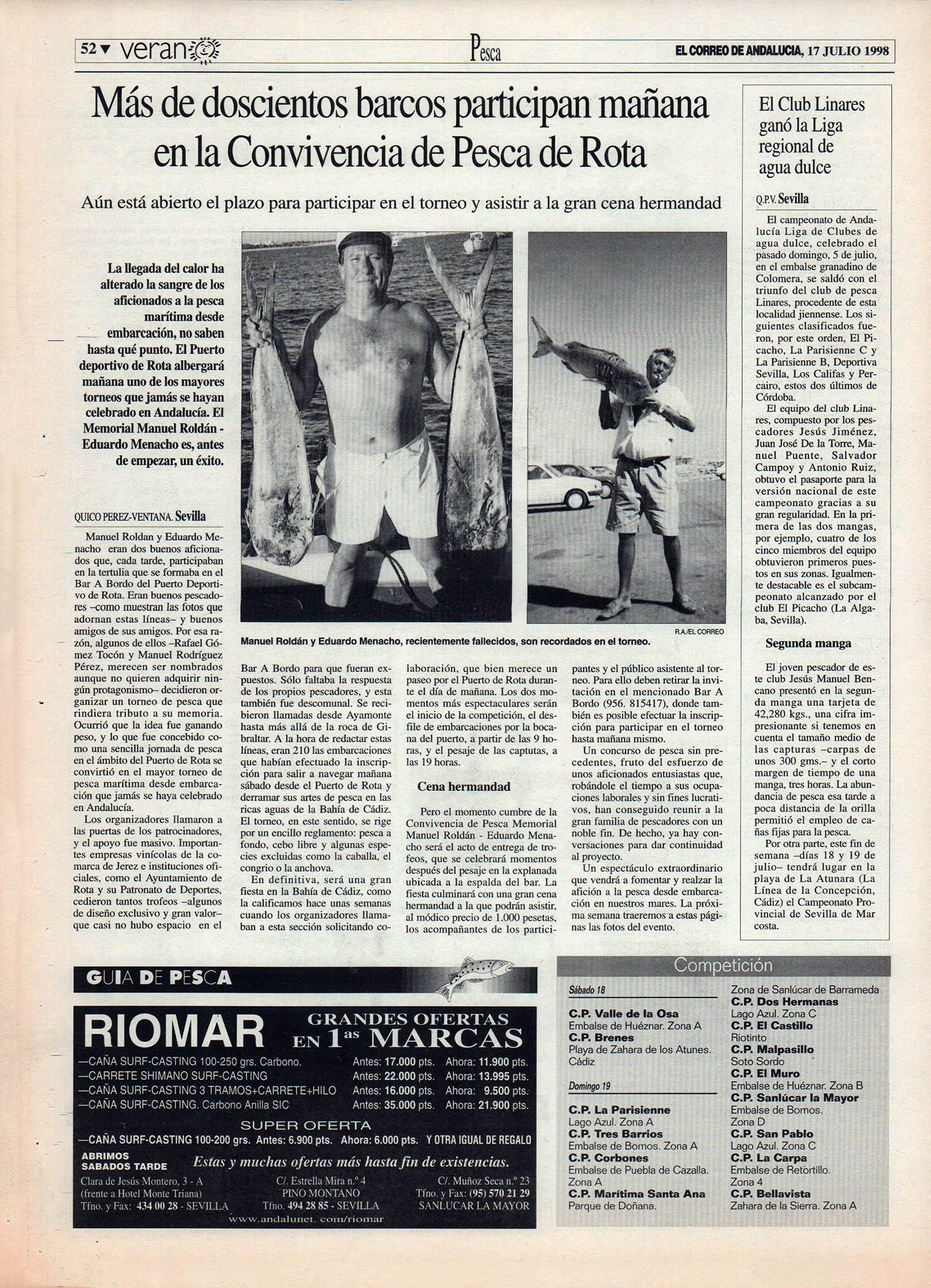 Pesca deportiva / Más de 200 barcos participan en la Convivencia de Pesca de Rota | El Club Linares ganó la Liga Regional de Agua Dulce | El Correo de Andalucía | 17 jul 1998