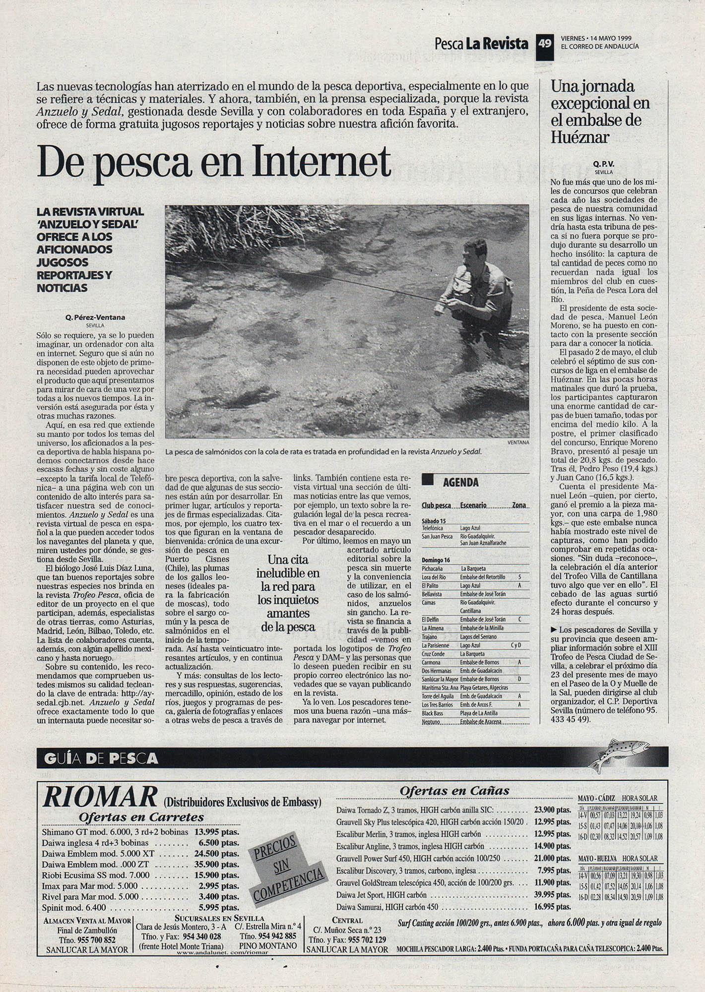 Pesca deportiva / De pesca en Internet - Revista digital Anzuelo y sedal | El Correo de Andalucía | 15 may 1999