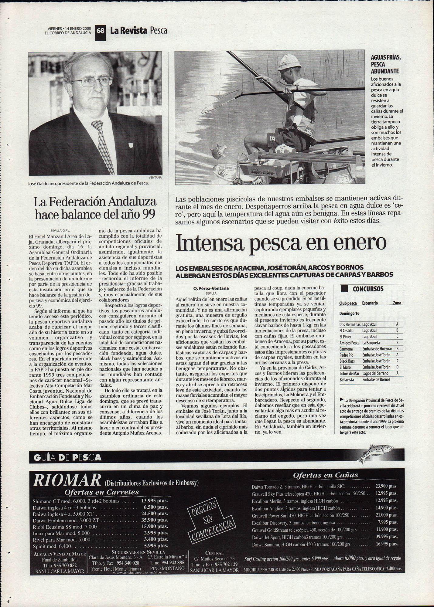 Pesca deportiva / La federación Andaluza hace balance del año 99 | Intensa pesca en enero | El Correo de Andalucía | 14 ene 2000