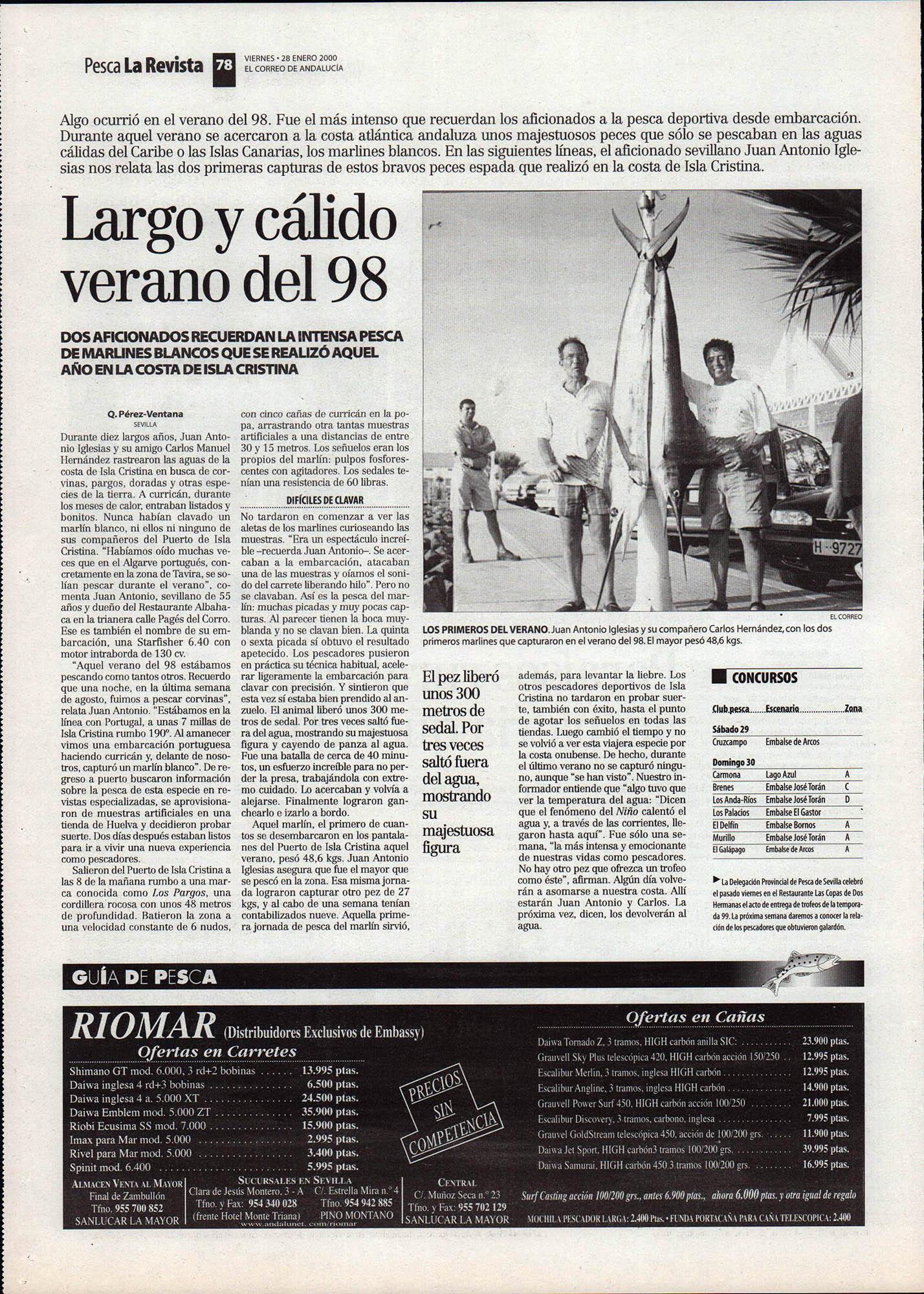 Pesca deportiva / Largo y cálido verano del 98 - Marlines blancos en Isla Cristina | El Correo de Andalucía | 28 ene 2000