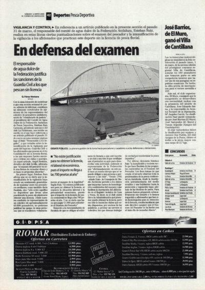 Pesca deportiva / En defensa del examen | El Correo de Andalucía | 6 may 2000