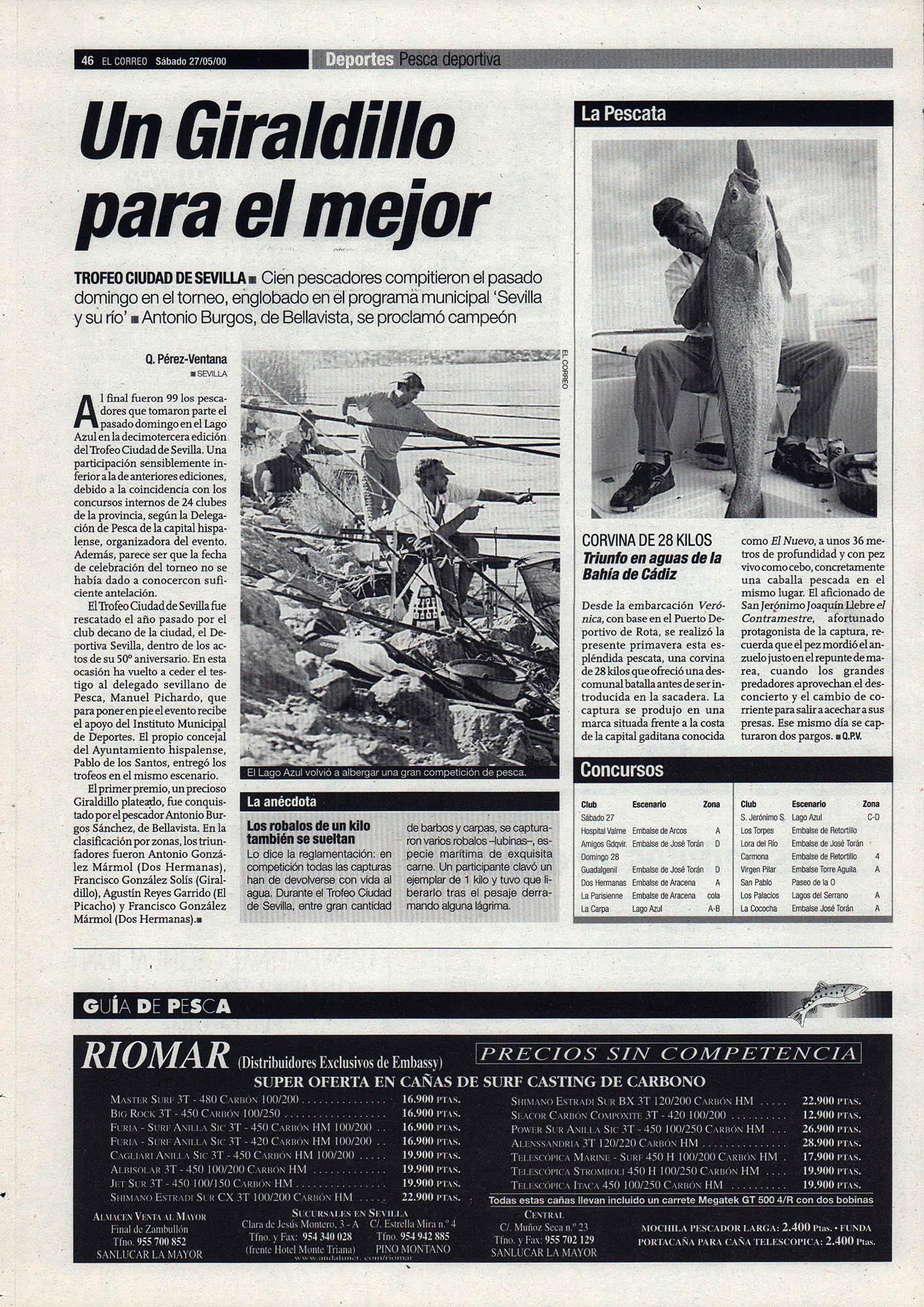 Pesca deportiva / Un Giraldillo para el mejor - Trofeo Ciudad de Sevilla | El Correo de Andalucía | 27 may 2000