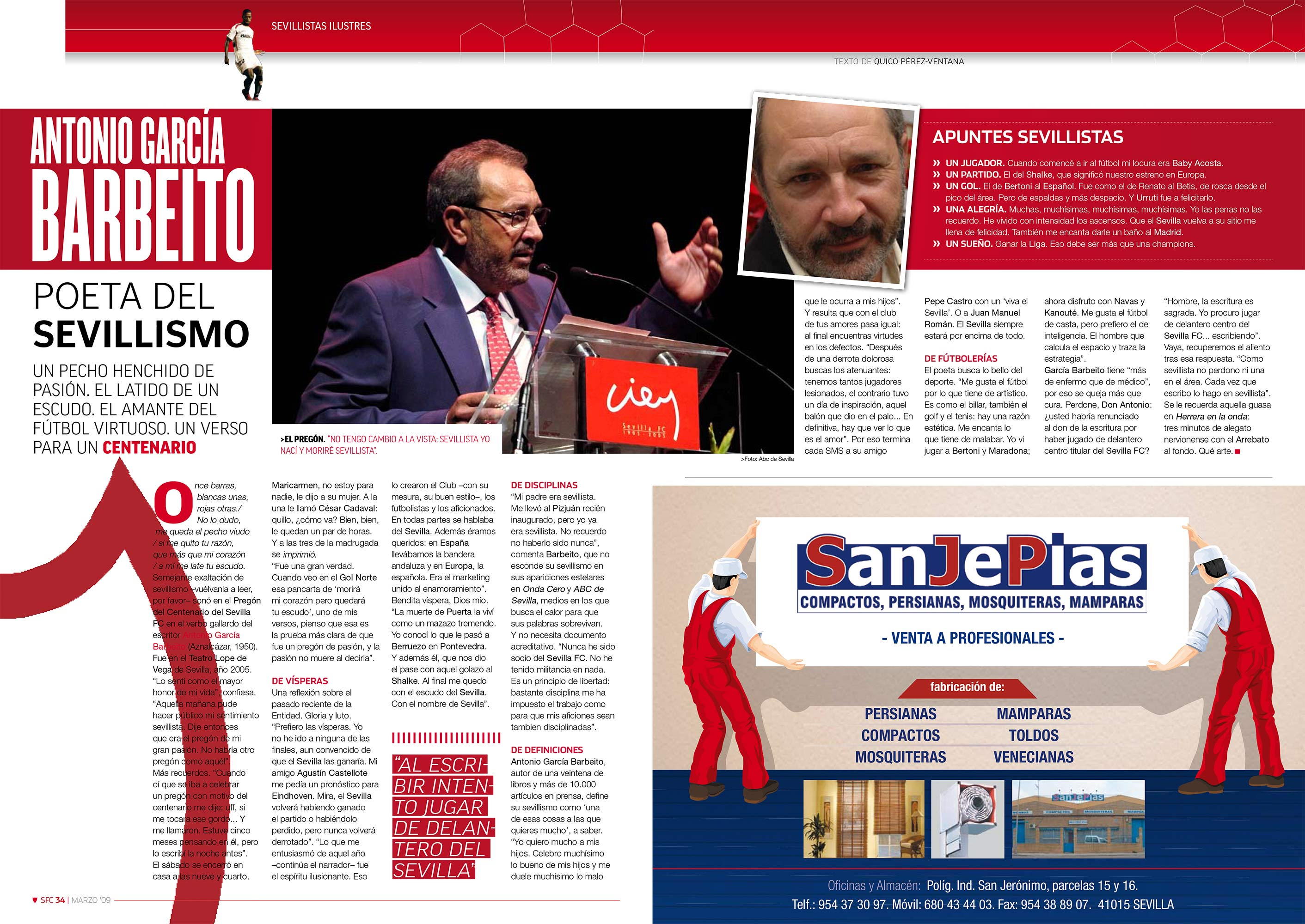 Antonio García Barbeito: poeta del sevillismo | Football Club | mar 2009