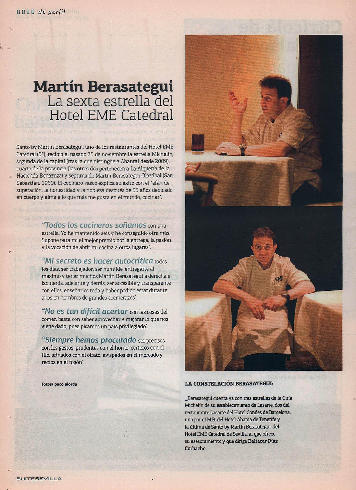 Martín Berasategui: la sexta estrella del Hotel EME Catedral | Suite Sevilla – ABC de Sevilla | dic 2010
